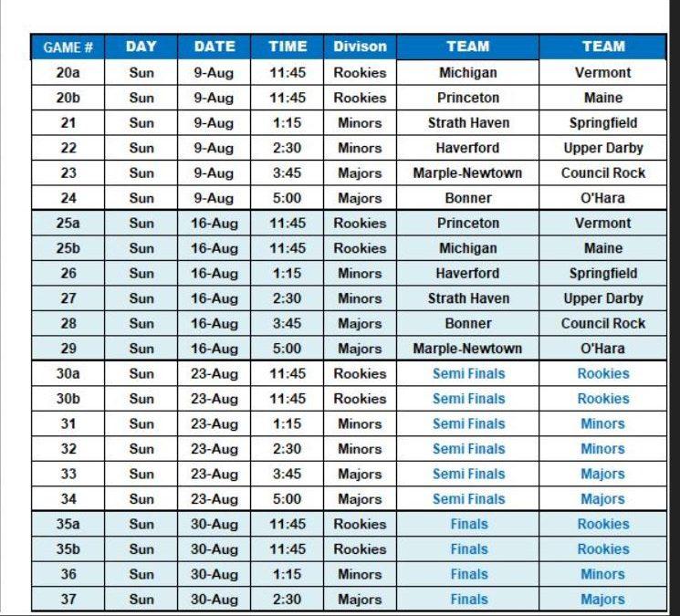 2020 HTHL Schedule (part 2)