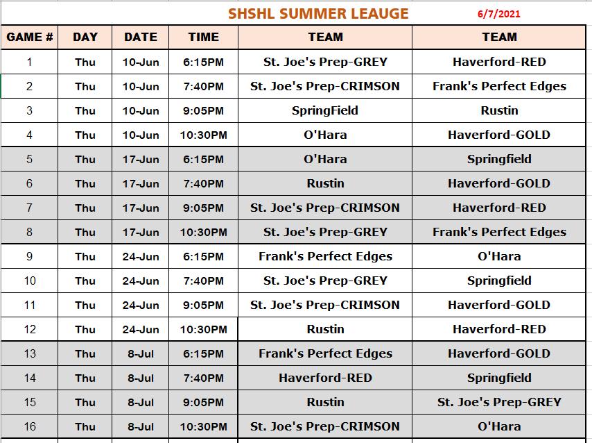 2021 SHSHL Schedule